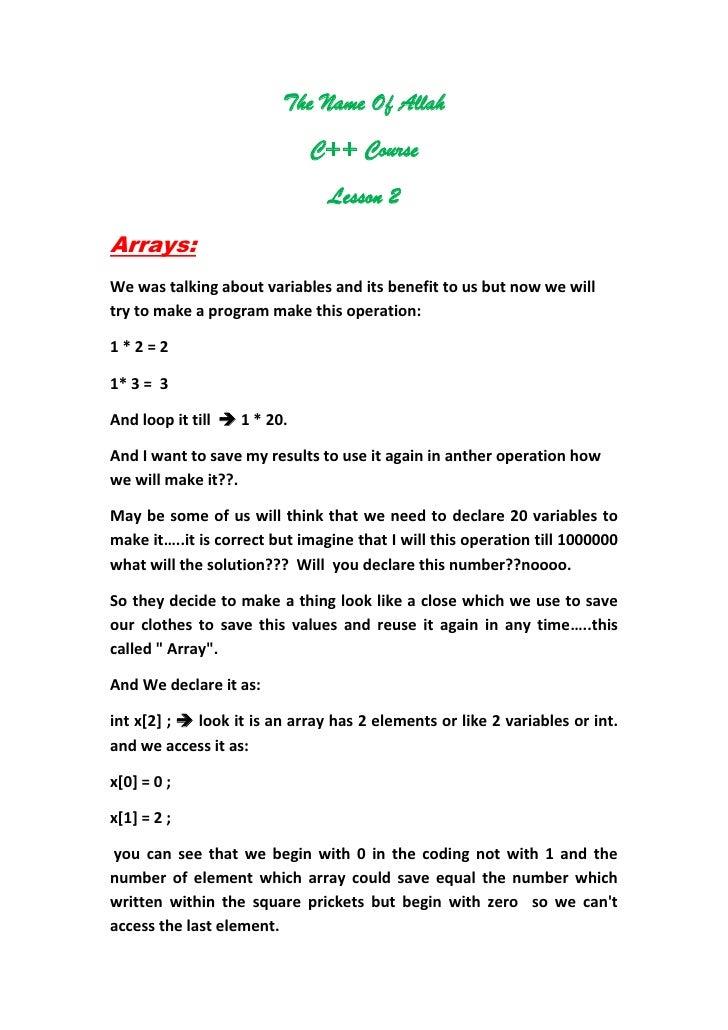 C++ Course - Lesson 2