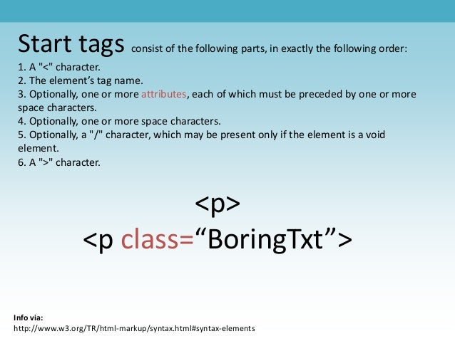 """Start tags consist of the following parts, in exactly the following order: 1. A """"<"""" character. 2. The element's tag name. ..."""