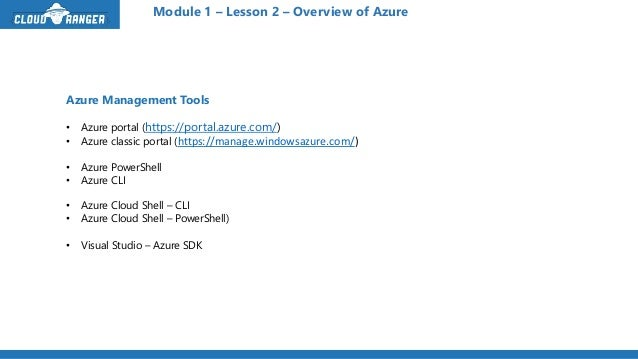 Exam 70-533 Module 1-Lesson 2 - Overview of Azure