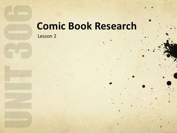 Comic Book ResearchLesson 2
