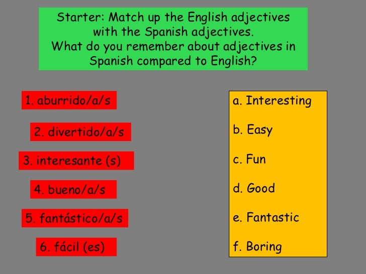 Starter: Match up the English adjectives with the Spanish adjectives.<br />What do you remember about adjectives in Spanis...