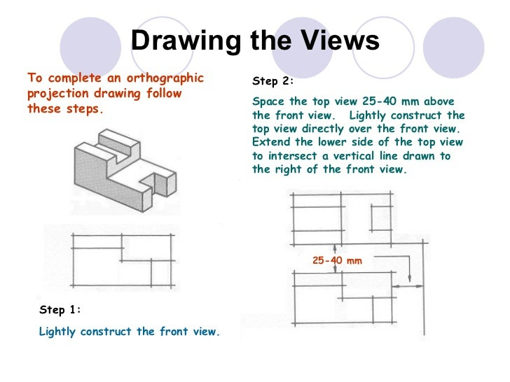 Drawing the Views To  complete  an orthographic projection drawing follow these steps. Step 1:  Lightly construct the fron...