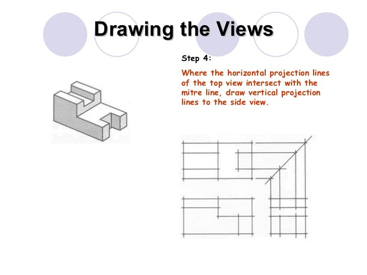 Drawing the Views Step 4: Where the horizontal projection lines of the top view intersect with the mitre line, draw vertic...