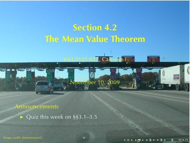Section4.2                              TheMeanValueTheorem                                   V63.0121.027, CalculusI...