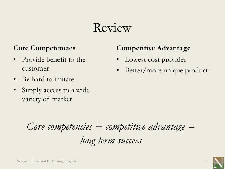 comparison of core competencies and competitive The primary difference between competitive advantage and core competence is presented in detail, in this article core competencies are the major source of attaining.