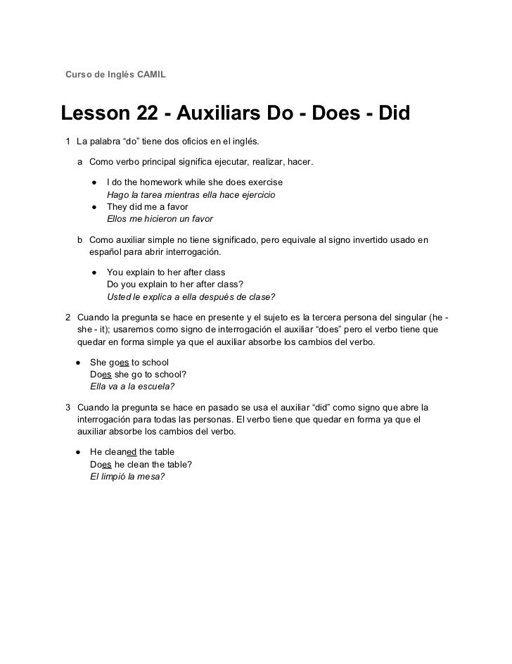 Lesson 22 auxiliars do · does · did