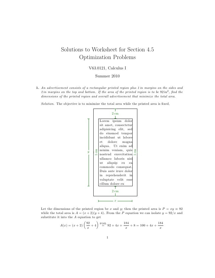 Printables Application Of Optimization  Work Sheet With Solution lesson 22 optimization problems worksheet solutions to for section 4 5 optimization