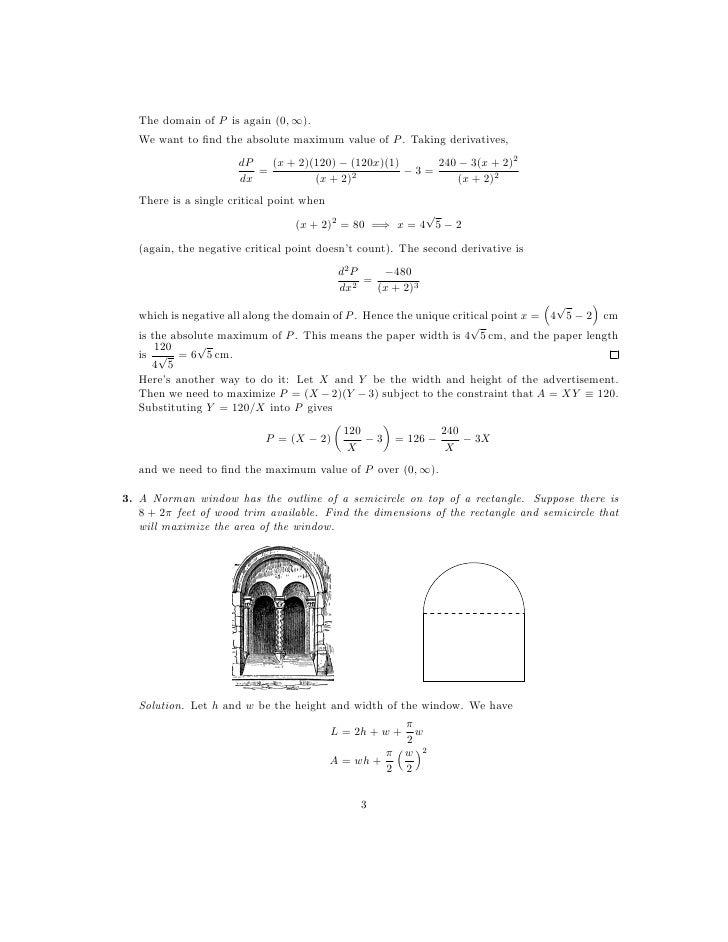 Derivatives Max Min Optimization Worksheet and Powerpoint