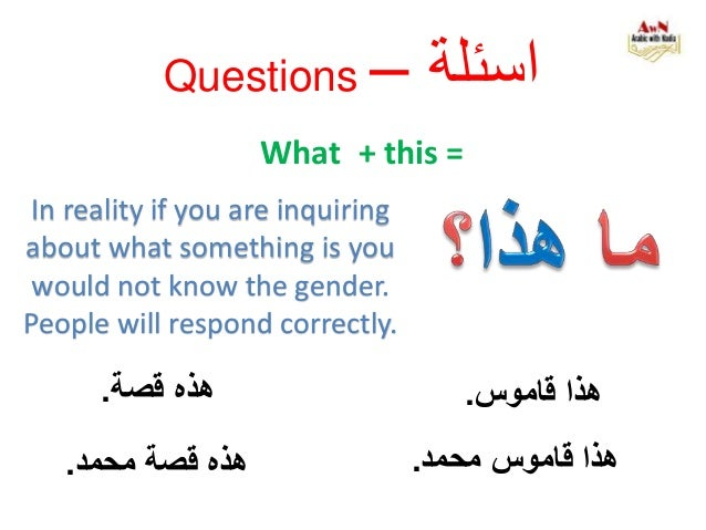 Questions – اسئلة What + this = محمد قاموس هذا. قاموس هذا.قصة هذه. قصة هذهمحمد. In reality if you ar...