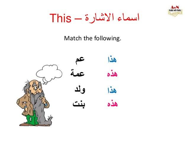 Match the following. هذا عم عمة ولد بنت هذه هذا هذه This – االشارة اسماء