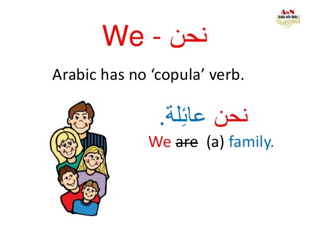 We - نحن Arabic has no 'copula' verb. نحنلةِئعا. We are (a) family.