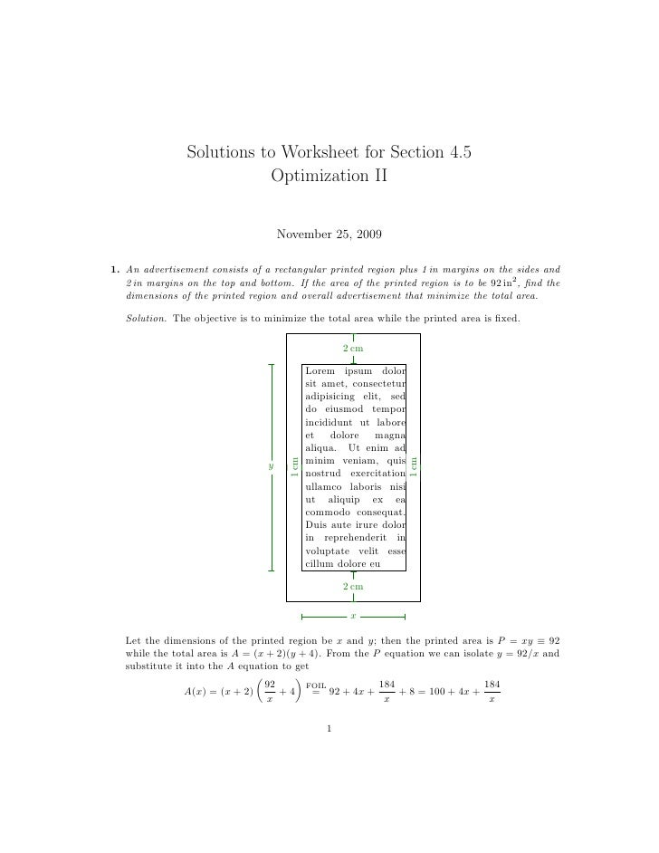 Worksheets Application Of Optimization  Work Sheet With Solution lesson 24 optimization worksheet solutions to for section 4 5 optimization