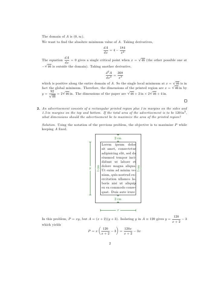 Lesson 24: Optimization (worksheet solutions)