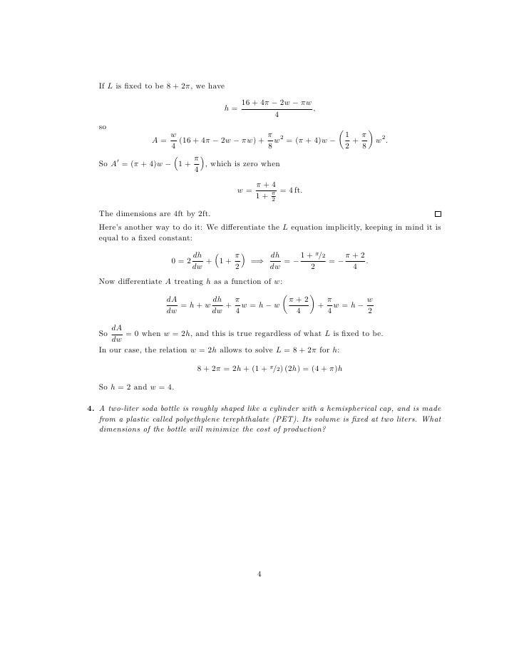 Optimization Worksheet (1).pdf - CALCULUS WORKSHEET ON ...