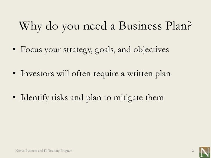 do you need a business plan