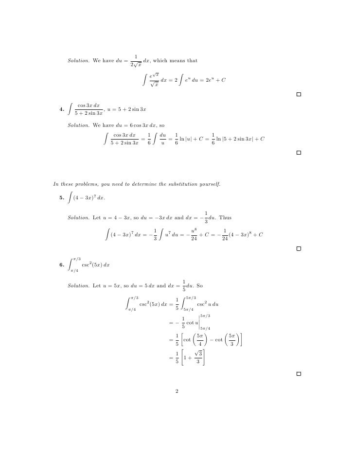 Lesson 27 Integration by Substitution worksheet solutions – Substitution Worksheet