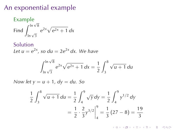 Lesson 27 Integration By Substitution Part Ii Section