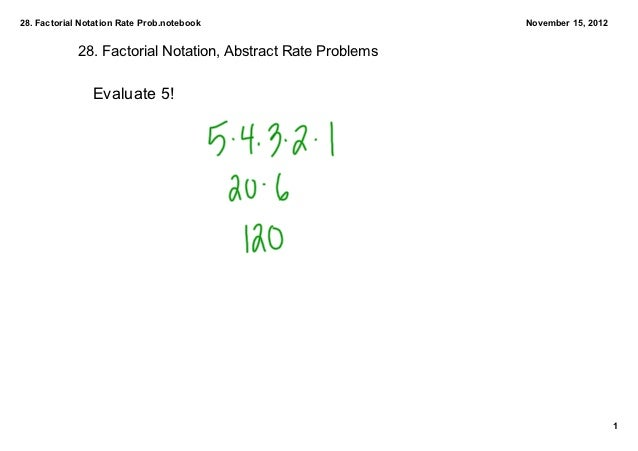 28. Factorial Notation Rate Prob.notebook                     November 15, 2012             28. Factorial Notation, Abstra...