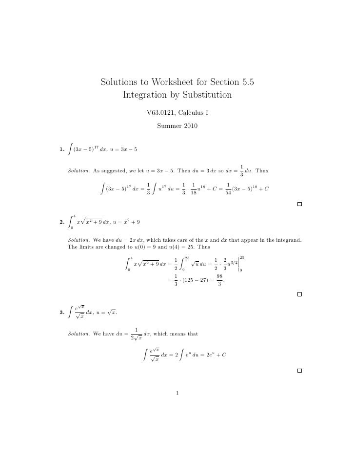 Lesson 28 Integration by Substitution worksheet solutions – Antiderivative Worksheet