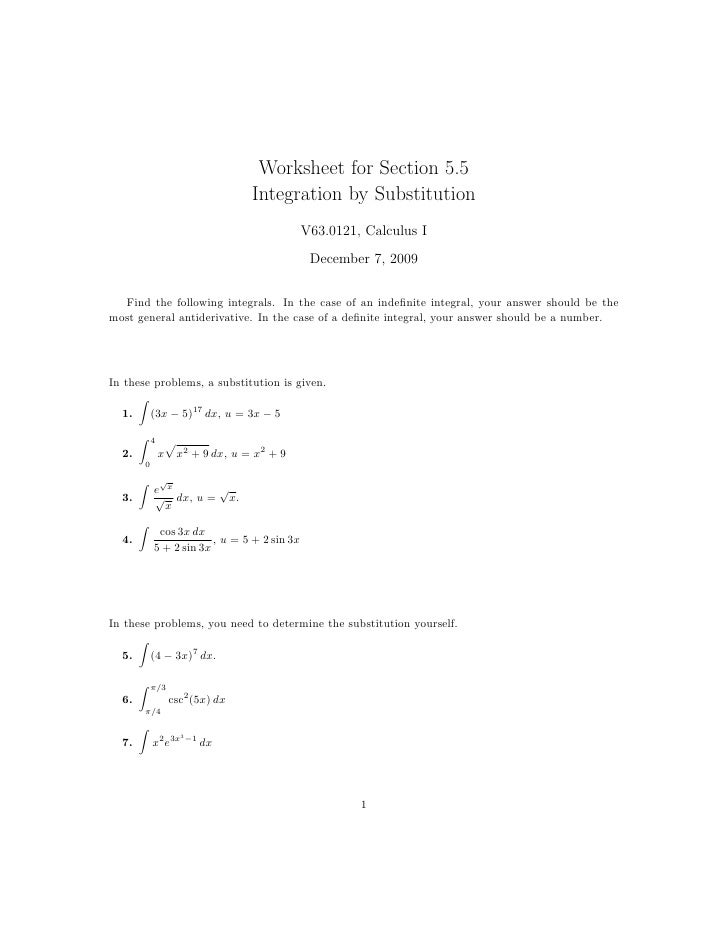 Worksheet for Section 5.5                                    Integration by Substitution                                  ...