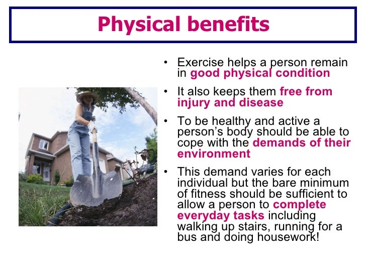 three benefits exercise essay The benefits of regular exercise have been shown in scientific research people who exercise regularly are healthier physically and mentally, have more energy, think more clearly, and sleep better.
