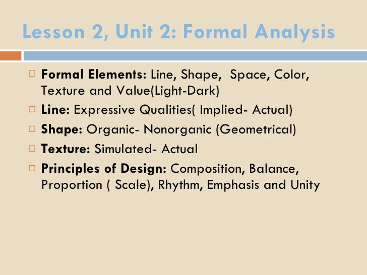 Formal Elements Line : Lesson unit formal analysis