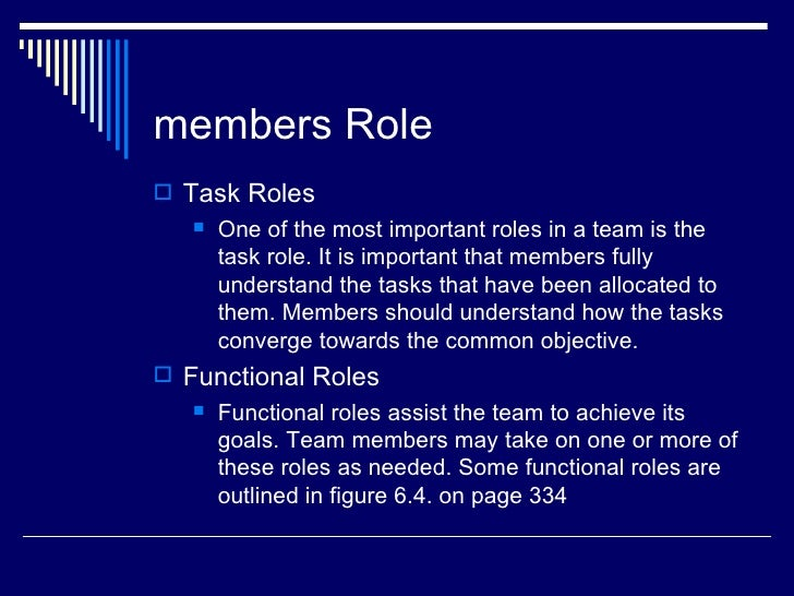 members Role Task Roles      One of the most important roles in a team is the       task role. It is important that memb...