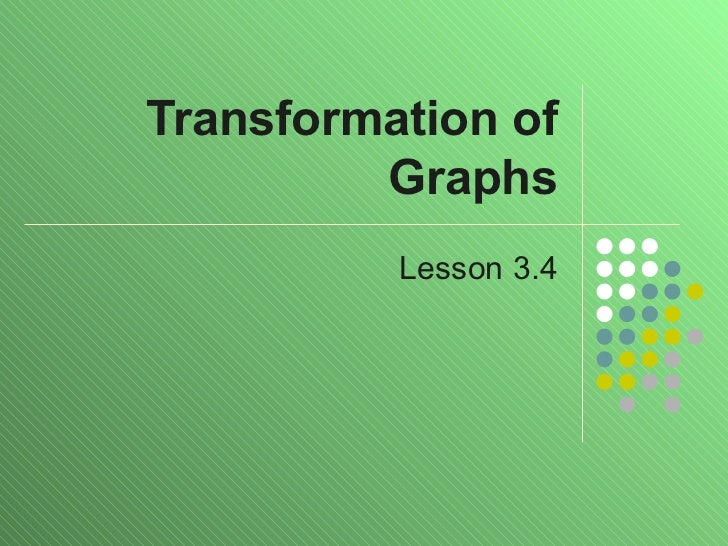 Transformation of Graphs Lesson 3.4