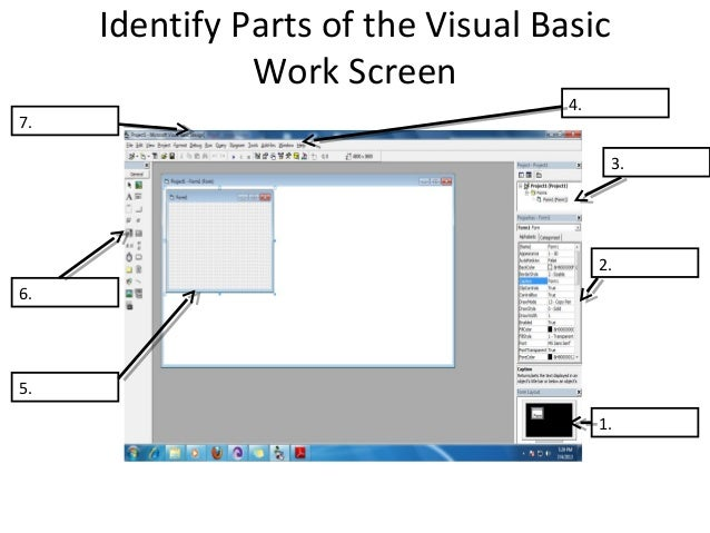 lesson 3 identify parts of the visual basic work screen