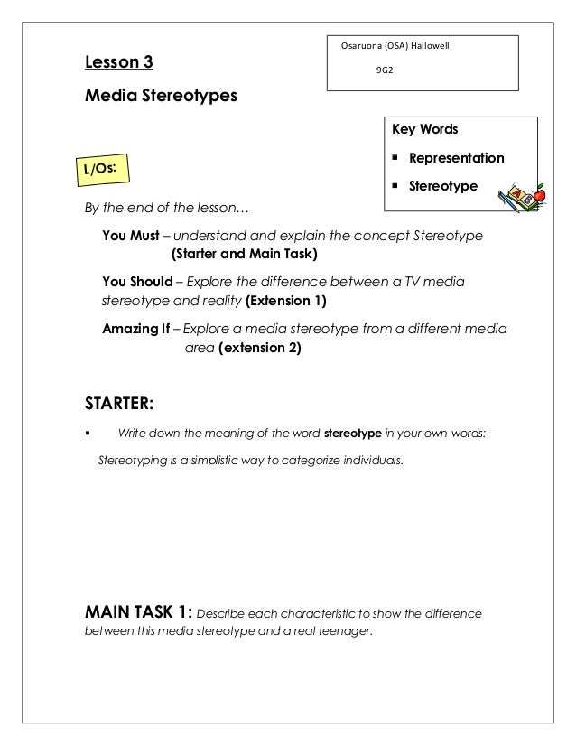 Printables Stereotype Worksheets lesson 3 media stereotypes worksheet osaruona osa hallowell 9g2 key words representation stereotype