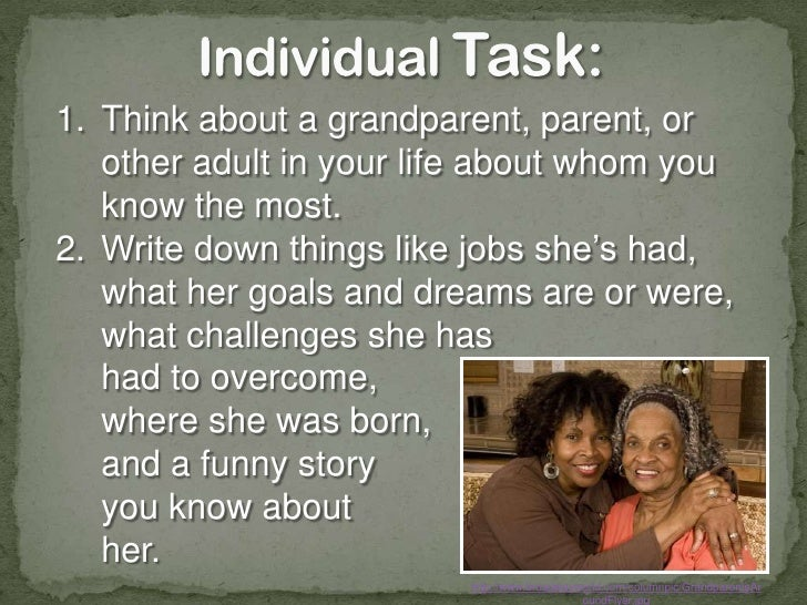 Interview your family members or friends!<br />http://africansolutions.org/static/images/grandmothersunited/grandmothers00...