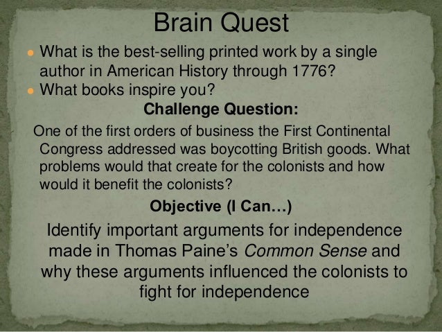 a comparison of common sense by thomas paine and plain truth by james chalmers Common sense due: november 10, 2013 common sense, by thomas paine,  common sense primary source critique essay  james chalmers and plain truth a loyalist.
