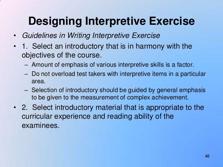 when compared to essay questions interpretive exercises (essay questions) oh 1 essay questions: forms  compared to interpretive exercises,  suggestions for writing essay questions.