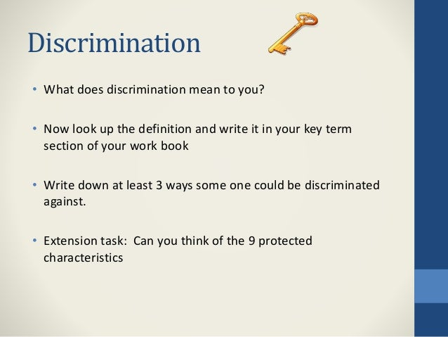 What does discrimination mean definition