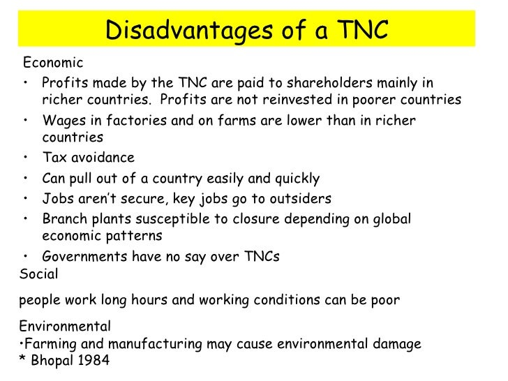 impact of tncs Foreign companies, mncs, tncs, mnes, global corporation, fdi, abstract 3 to study the impact of global corporations on indian economy.