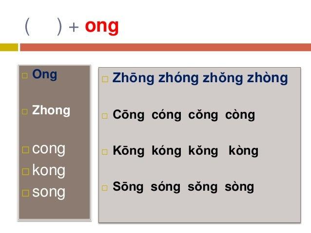 ( ) + ong  Ong  Zhong  cong  kong  song  Zhōng zhóng zhǒng zhòng  Cōng cóng cǒng còng  Kōng kóng kǒng kòng  Sōng ...