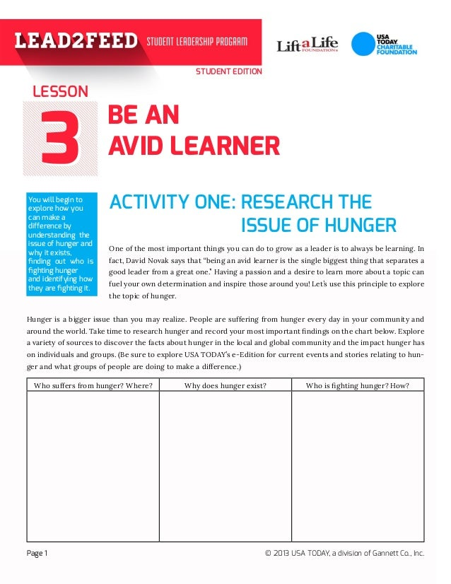 STUDENT EDITION 33 BE AN AVID LEARNER ACTIVITY ONE: RESEARCH THE   One of the most important things you can do to gr...