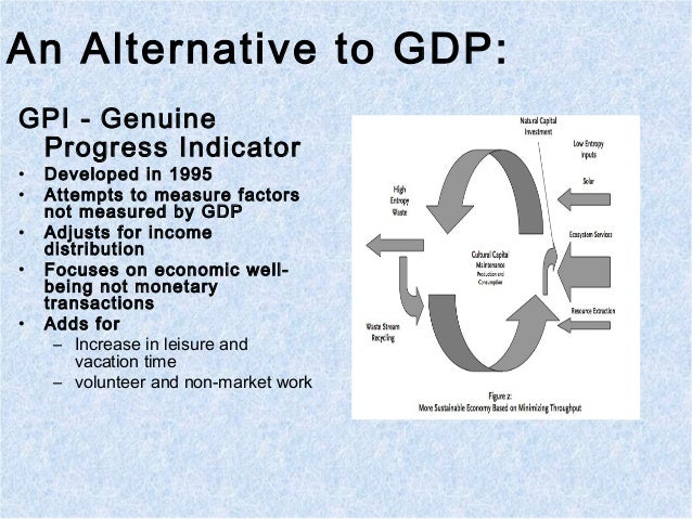 An Alternative to GDP: GPI - Genuine Progress Indicator • Developed in 1995 • Attempts to measure factors not measured by ...