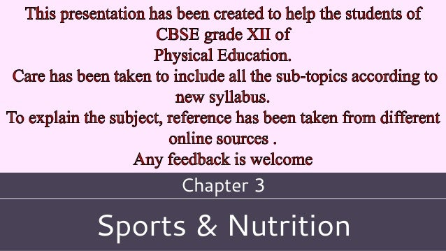 Sports & Nutrition Chapter 3