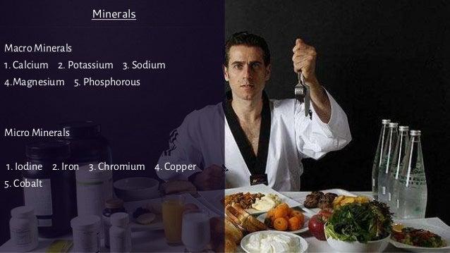 Macro Minerals 1. Calcium 2. Potassium 3. Sodium 4.Magnesium 5. Phosphorous Micro Minerals 1. Iodine 2. Iron 3. Chromium 4...