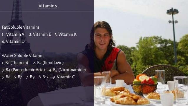 Fat Soluble Vitamins 1. Vitamin A 2. Vitamin E 3. Vitamin K 4. Vitamin D Water Soluble Vitamin 1. B1 (Thaimin) 2. B2 (Ribo...