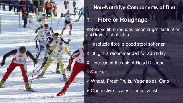 Non-Nutritive Components of Diet 1. Fibre or Roughage Soluble fibre reduces blood sugar fluctuation and lowers cholestero...