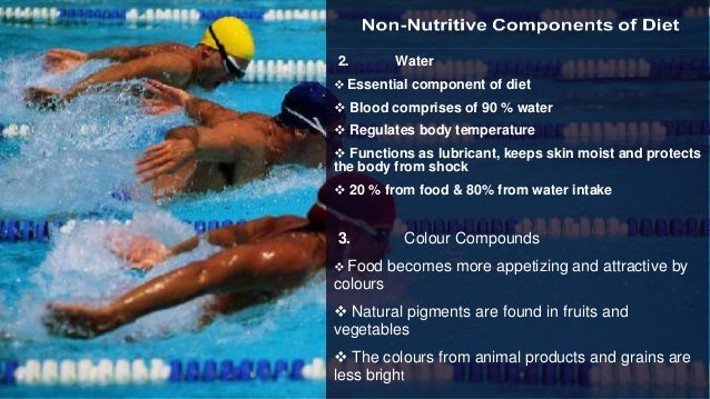 2. Water  Essential component of diet  Blood comprises of 90 % water  Regulates body temperature  Functions as lubrica...