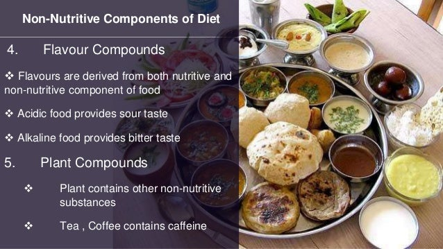 Non-Nutritive Components of Diet 4. Flavour Compounds  Flavours are derived from both nutritive and non-nutritive compone...