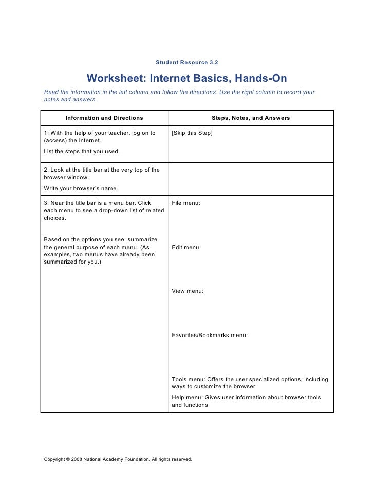 Student Resource 3.2                     Worksheet: Internet Basics, Hands-On Read the information in the left column and ...