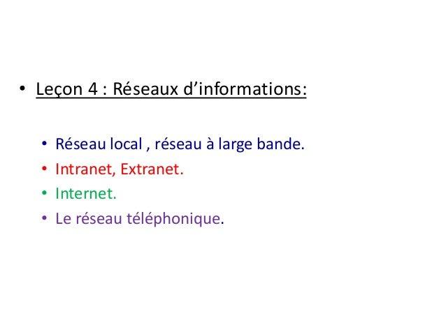 • Leçon 4 : Réseaux d'informations:  • Réseau local , réseau à large bande.  • Intranet, Extranet.  • Internet.  • Le rése...