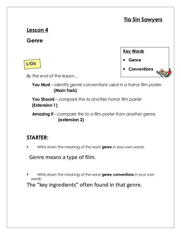 Printables Genre Worksheet genre worksheet tia sin sawyers lesson 4 key words conventions los