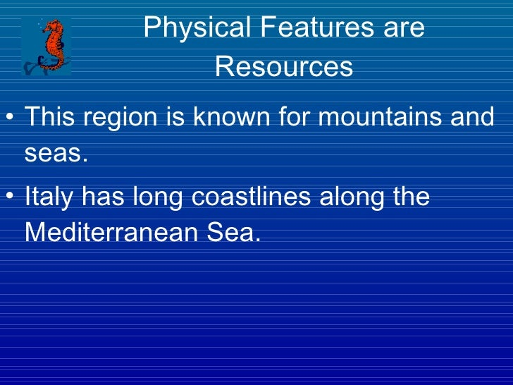 what are some natural resources in italy