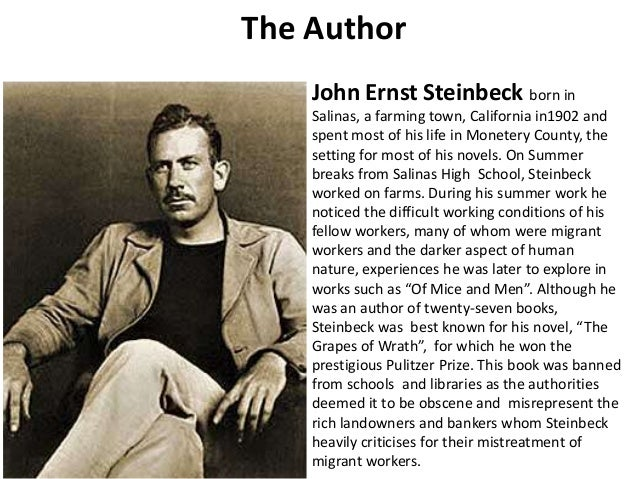 the life of migrant workers as shown in of mice and men by john steinbeck John steinbeck's of mice and men is a parable about what it means to be human lennie small a migrant worker who is mentally handicapped student life.