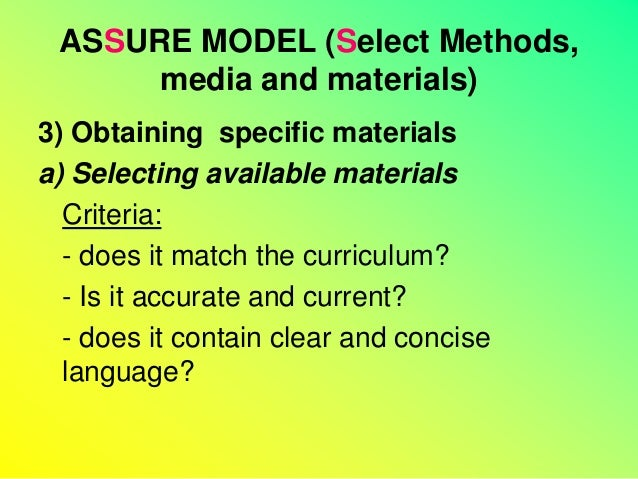 criteria for selecting instructional materials